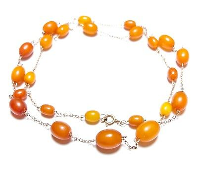 Beautiful Old Vintage Or Antique 9Ct Rose Gold & Amber Bead Necklace Chain (B16)