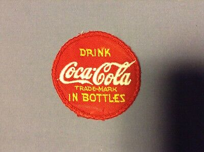 "1950's? ""DRINK COCA-COLA IN BOTTLES"" DRIVER ROUND PATCH ~ 3"" Diameter"