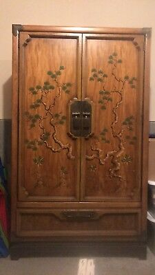 Vintage Combo Wood Brass Chest Armoire Dresser Drawer Heavy Furniture