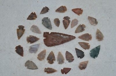 "28 PC Flint Arrowhead Ohio Collection Points 1-3"" Spear Bow Knife Hunting Blade"