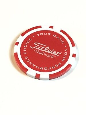 Titleist - RARE Limited Edition Poker Chip BALL MARKER - 40mm - Red & White NEW!