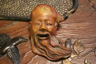 Antique Chinese Hand Carved Shoushan Stone Mask Paperweight