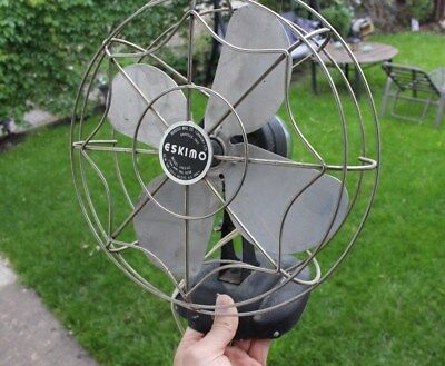 Vintage Eskimo Model 1003 Spider Web Metal One Speed Table Wall Mount Fan