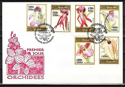 Cambodia, Scott cat. 1678-1683. Orchids issue on a First day cover