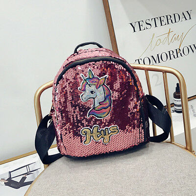 Sequin 3D Unicorn Backpack School Shopping Bag Rucksack Satchel Christmas