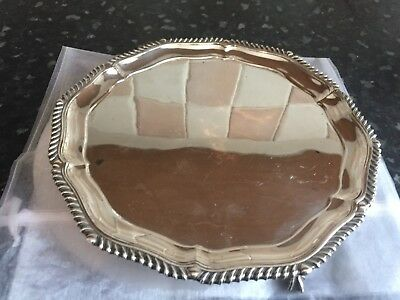 Round silver plated card tray