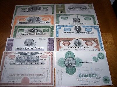 Lot of 10 Different Stock Certificates.Nice Vignettes TL1