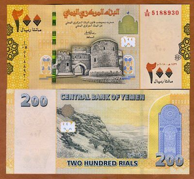 Yemen Arab Republic, 200 Rials, 2018, P-New, UNC > Redesigned
