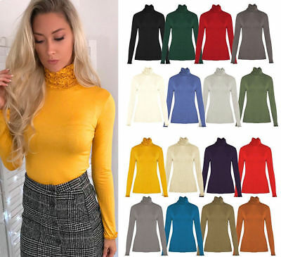 Womens Ladies Girls New Look High Ruffle Polo Turtle Neck Loose Top Jumper  8-14