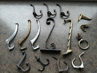 Vintage Metal Coat Hooks - Mixed Lot of 15