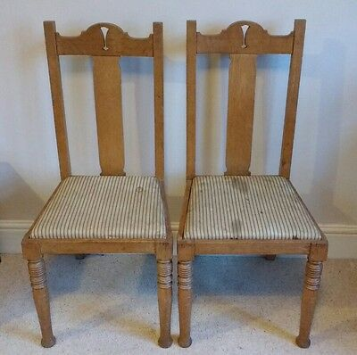 Antique chairs, pair, beautiful Victorian Edwardian, need new covers, wobbly