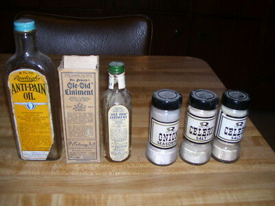 (A) Lot of Rawleigh's & Dr Peters Antique Glass Medicine Liniment Spice Bottles