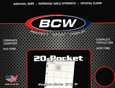 50 BCW 20 Pocket Pages for Coin Holders or Photo Slides  PRO20T  Binder Sheets