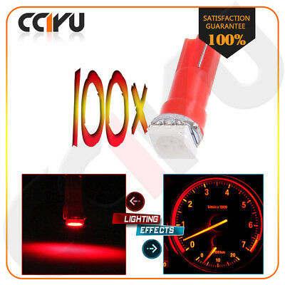 100pcs T5 Red Led 5050 SMD Dashboard Instrument Panel Light Bulb 37 74 2721 0.5W
