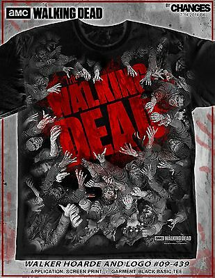a5e208e9d5a2a The Walking Dead Walker Horde Zombies Mains Mosh Pit Punk AMC T-Shirt S-