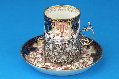 ROYAL CROWN DERBY Imari 3788 Coffee Cup/Can HM SOLID SILVER Holder London 1908