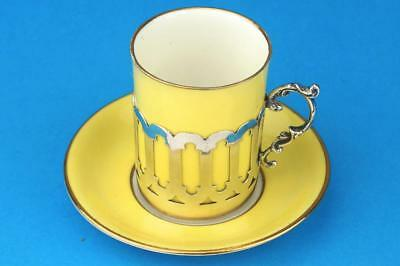 AYNSLEY Demitasse ART DECO YELLOW Coffee Cup/Can Saucer & HM SILVER Holder 1919