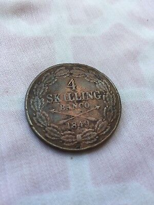 1849 4 Skilling Banco Swedish Coin