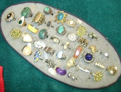 Lot Of Vintage Estate Rings.38 Cocktail,Some Sterling, Assorted Sizes