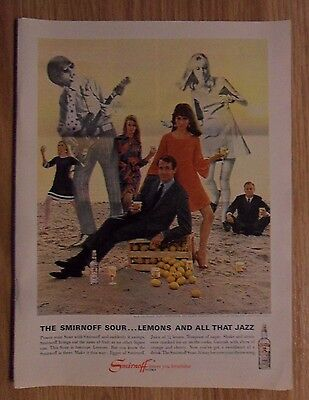 1967 Print Ad Smirnoff Vodka ~ Sour Lemons & All that Jazz. Rock Band on Beach.