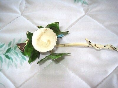 Vintage Chippy Italian Shabby Tole Green & White Country Chic Candle Snuffer