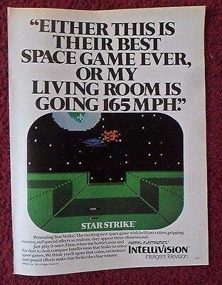 1982 Print Ad Intellivision STAR STRIKE Video Game ~ My Living Room Goes 165MPH