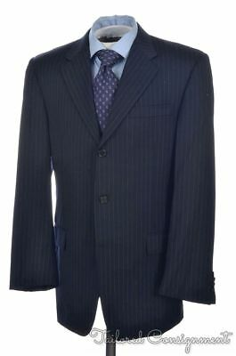 HICKEY FREEMAN Recent Blue Striped 100% Wool Jacket Pants SUIT Mens - 40 R