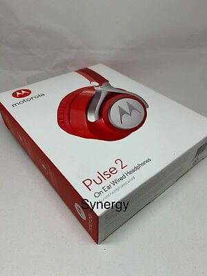 Motorola Pulse 2 On Ear Wired Headphones WITH MIC NEW RED