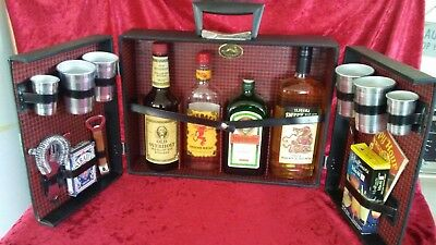 "Vintage Kraftware Portable Travel Mini Bar Set in a Suitcase 17"" x 12.5"" x 5.5"""