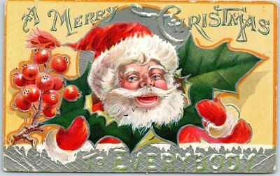 "Vintage SANTA CLAUS Embossed Postcard ""MERRY CHRISTMAS TO EVERYBODY"" 1908 Cancel"