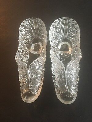 Set Of 2Bryce Bros.Fort Wayne Outfitters Signed Glass Slipper Clear Daisy&button