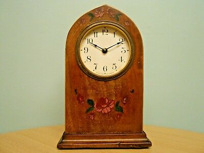 ANTIQUE AMERICAN FLORAL PAINTED INLAID WALNUT LANCET CLOCK c1900