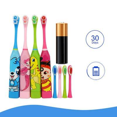 Children Automatic Electric Toothbrush Ultrasonic Waterproof w/ 2 Brush Heads