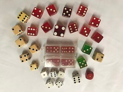 Vintage Lot 35 Gambling Dice Bakelite Red Green Bone