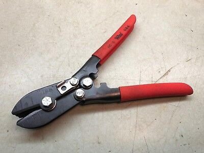 """WISS (HC-5) Blade HVAC Crimper Tool Red Rubber Grips 9-1/4"""" Long Pliers USA"""