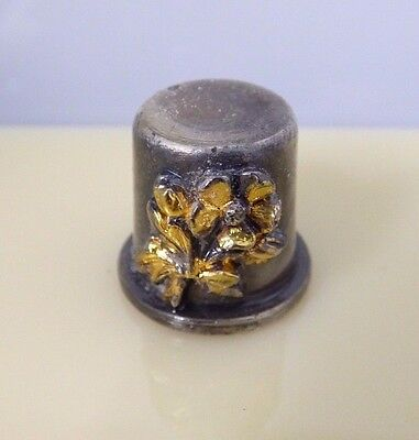 Vintage Pewter? Steel? Gold Tone Rose Flowers Collectible Sewing Thimble Thick