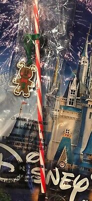 Disney Parks Christmas Gingerbread Mickey Straw Brand New In Hand