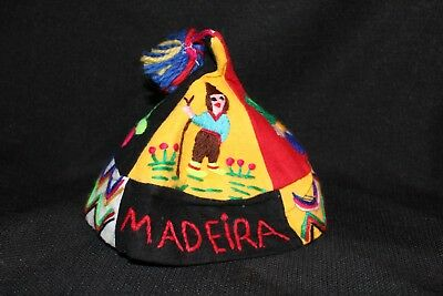 Vintage Textiles MADEIRA Handmade PORTUGAL Yarn Cotton Embroidered Colorful Hat