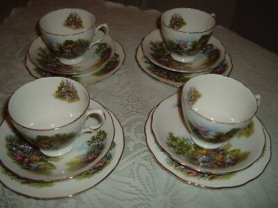 Vintage Royal Vale 12 Piece China Tea Set, English Country Cottage Garden