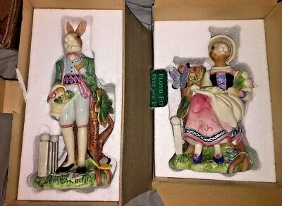 Fitz and Floyd Lady & Gentleman Easter Old World Rabbits Bunny Candle Holder