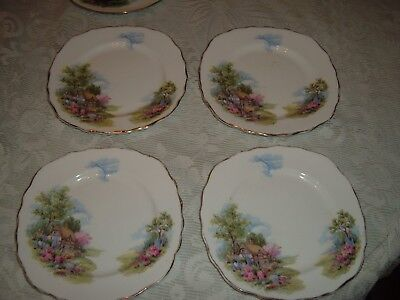 Vintage Royal Vale 4 Square Tea Plates    English Country Cottage Garden