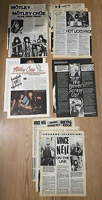Vintage 1980s Motley Crue Clippings Full Articles Vince Neil Tommy Lee Sixx