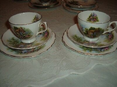Vintage Royal Vale  2X Trios   English Country Cottage Garden