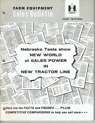 International Harvester Sales Bulletin Tractor Nebraska Tests #43 1959 CR-1214-I