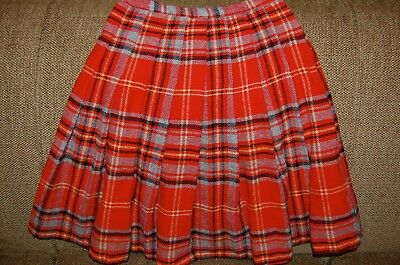 Vintage College Town of Boston Plaid Pleated Wool Skirt XS