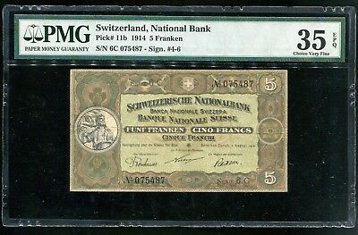 SWISS P-11b, 1.8.1914  5 Franken banknote in Choice VF, High Catalog Value