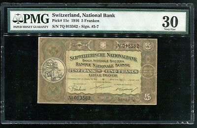 SWISS P-11c, 1.1.1916  5 Franken banknote in Choice VF, High Catalog Value