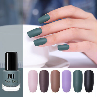 NEE JOLIE 3.5ml Matte Nail Polish Pure Tips Purple Green Black Nail Art Varnish
