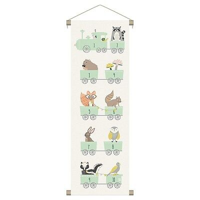 """Wall Banner Woodland Animals Number Train Nursery Child Whimsical 12 x 36"""""""