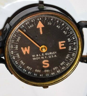 W & LE GURLEY COMPASS WW11 WW2 with CANVAS BELT BAG